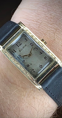 1930s 14k Solid Gold Bulova tank watch, Rectangular shape, Bulova 6AE, Serviced