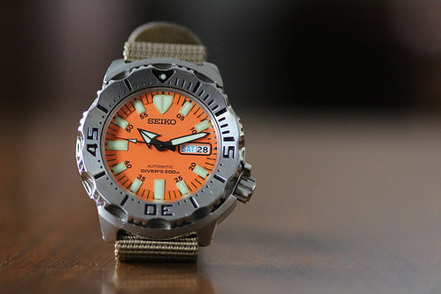 Generation 1 Seiko Monster Orange dial diver watch, 7S26-0350 Automatic