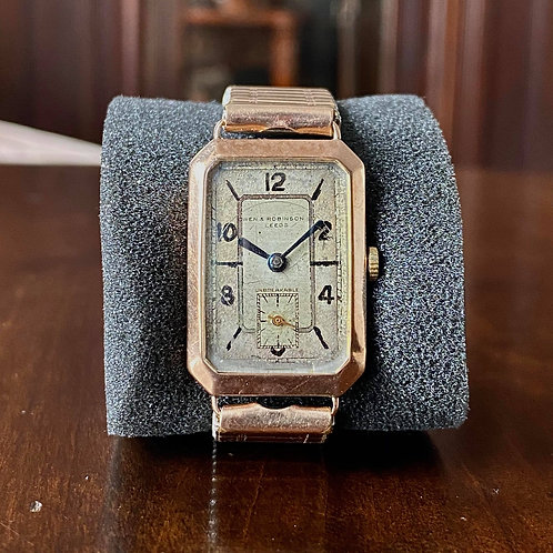 1935 Owen and Robinson LTD Leeds, 9ct Rose Gold watch shookproof, 22mm x 31mm