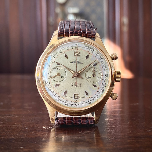 "1950s ""Super"" chronograph watch, gold plated, Swiss Ebauche Venus 188, serviced"