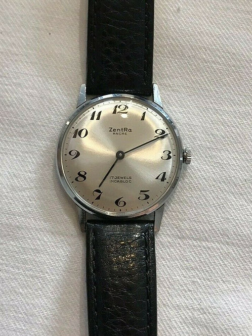 Zentra Ancre, 17 jewel Incabloc, Stainless steel dress watch, ultra thin