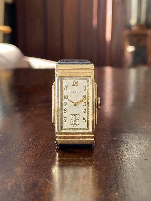 Vintage Art Deco 1940s 10k GF Rectangular Ollendorff watch, American market