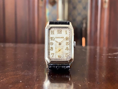 1929 Art Deco 14K WGF Longines rectangular watch, Rare cal. 9.47N movement