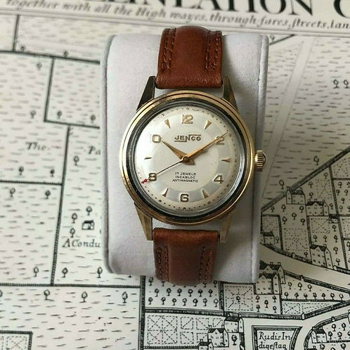 Jenco 17 jewel watch, in stainless steel case, with gold bezel colour, serviced