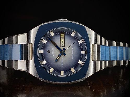 Rare 1970s Hi-Beat Zodiac Olympos SST Automatic watch, Blue, cal 86 Ref 862 964