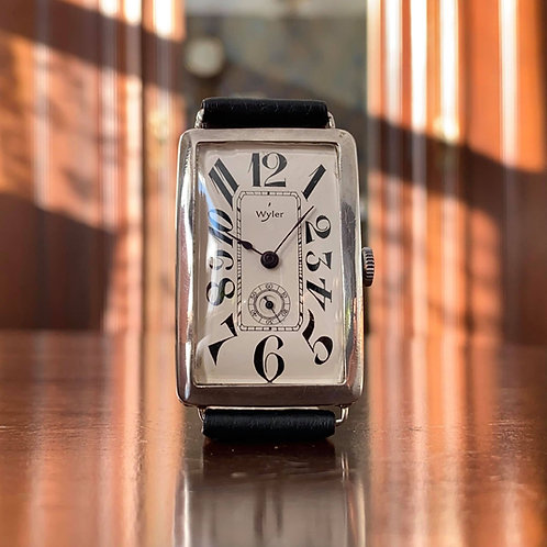 Art Deco 1920's Silver Wyler watch, exploding dial, curved rectangular 27mm x 42
