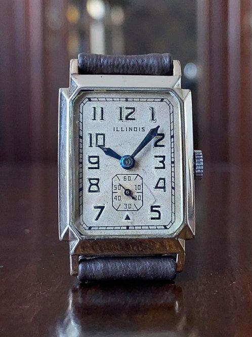 Art Deco Illinois Larchmont 14k WGF case watch, Cal 207 tank watch serviced