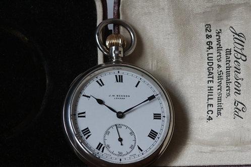 1912 Silver JW Benson London pocket watch, 15 jewel movement with box