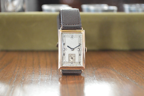 9ct Gold Art Deco tank watch dating to 1935 - with original box, strap & buckle