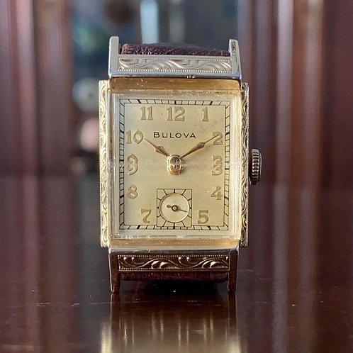1949 Bulova Aeronaut watch, 10AE movement, Serviced, signed crown, 22mm x 31mm