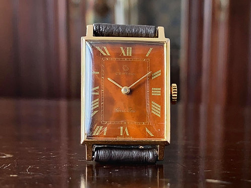 1960s Certina Good Time tank watch, tortoise shell style dial, Cal. 19-30