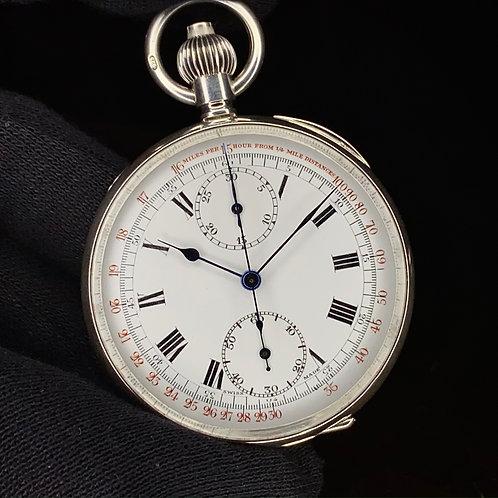 1928 Near NOS Silver Chronograph pocket watch, high grade column wheel serviced