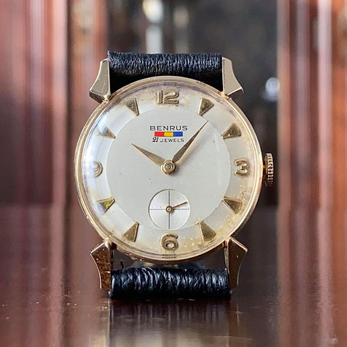 1950s 14k Gold Benrus watch with beautiful lugs, serviced, DN 411 / ETA 1281