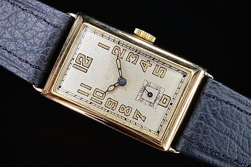 1930s Art Deco 18ct gold rectangular watch, Record Swiss movement serviced, 33mm