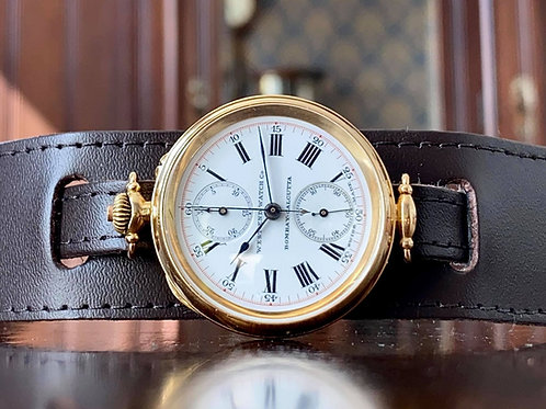 1910's West End Watch Co. 18k gold Chronograph watch, A. Lugrin 13''' movement