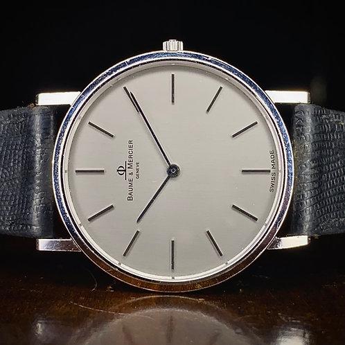 1990s Baume & Mercier ultra thin 18ct white gold watch,Ref 15603 Serviced quartz