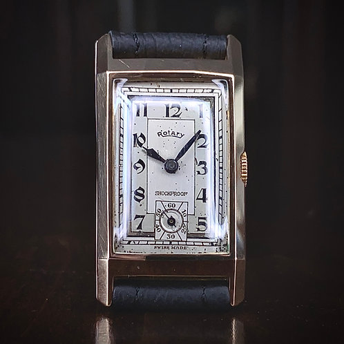 Art Deco 1935 9ct Rose Gold Rotary tank watch, shockproof recently serviced ETA