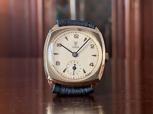 1950s 9k Gold Tudor Dress watch, Cushion case, NOS dial, Tudor cal. 59 serviced