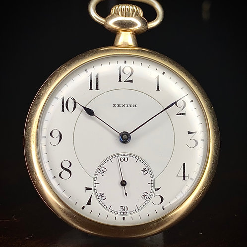 1918 Gold Plated Zenith pocket watch, 23S, 17 jewels Adjusted, Cal 19''' N.V.S.I