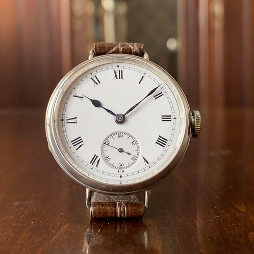 1919 Silver trench watch, high-grade swiss movement, enamel dial, 33mm, serviced