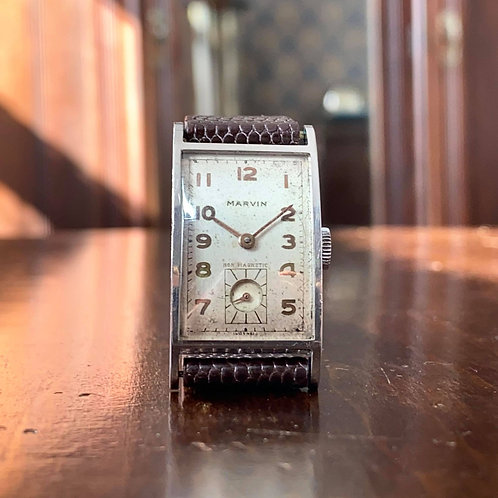 Art Deco Boxed 1930s Marvin tank watch, stainless case, cal 640 movement