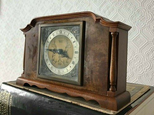 Parsons LTD Bristol - Elliott Clock - Made in England - Teak, Cherub dark gold