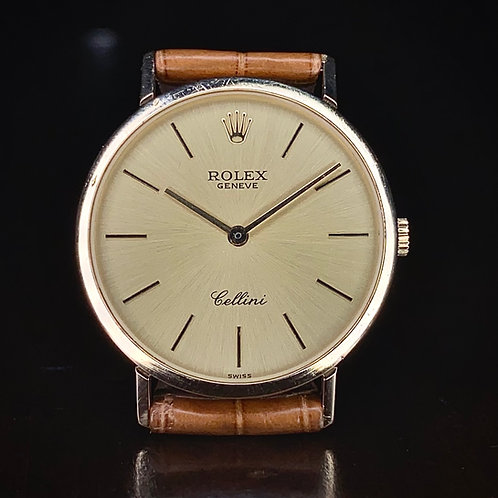 1990s 18ct Gold Rolex Cellini slim dress watch ref 4112, manual wind Rolex 1601