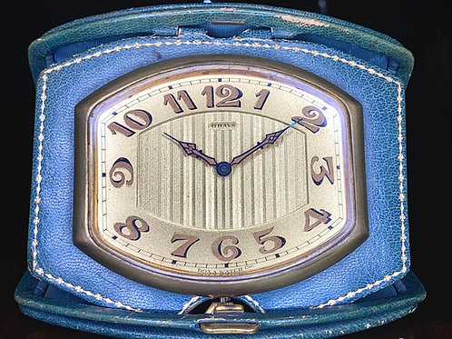Art Deco Doxa 8 Day folding travel bedside clock, 15 jewel Doxa movement working