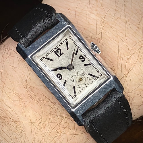 1930s Art Deco Rotary stainless steel tank watch, Maximus movement, serviced