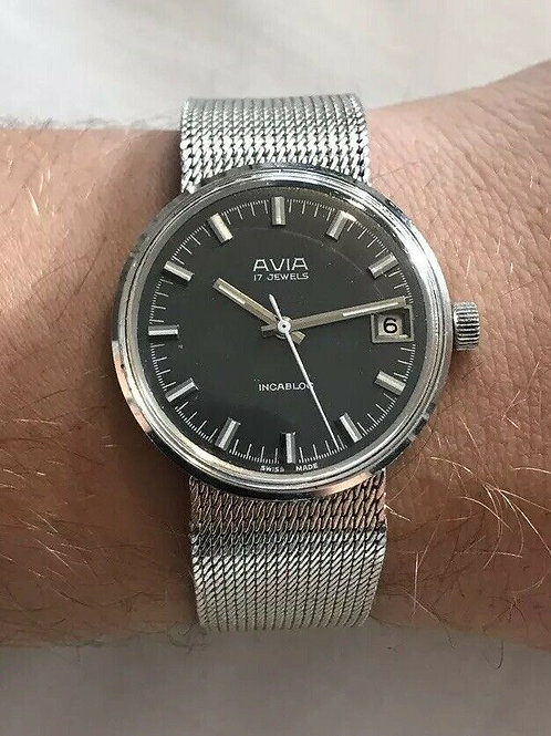Avia Dress watch with date, Stainless case and dark Grey dial, integrated strap