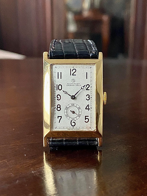 Art Deco Mid 1920s Election Grand Prix 18ct gold tank watch, cal. 62 movement