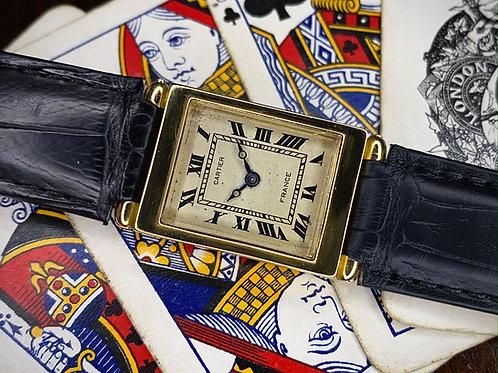 Rare Art Deco 1930s Cartier France Ladies, Jaeger Duoplan 18k gold dress watch