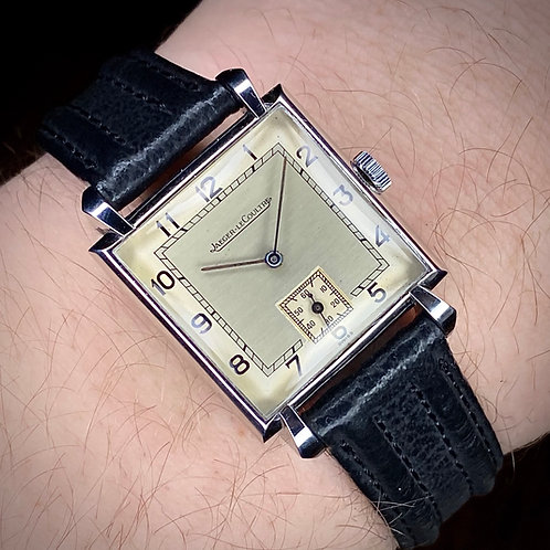 1940s Jaeger Lecoultre Square Stainless Cased watch, tear drop lugs, Cal. 417/3B