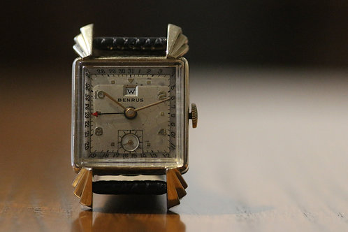 Benrus Triple Date pointing art deco style watch, 17 jewel Model CK2, 10k GF