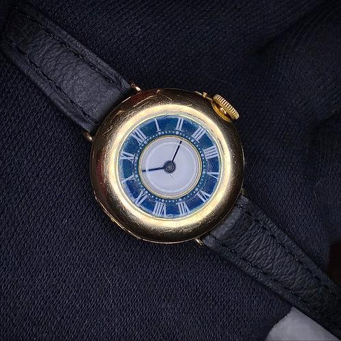 1910s 15k gold Dreadnought Semi Hunter Wrist Watch manual wind, blue enamel 28mm