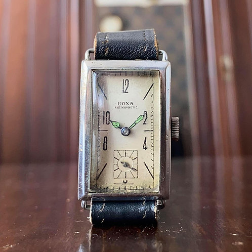 1930s Doxa tank watch watch, chromium plated, fixed lugs, ETA movement