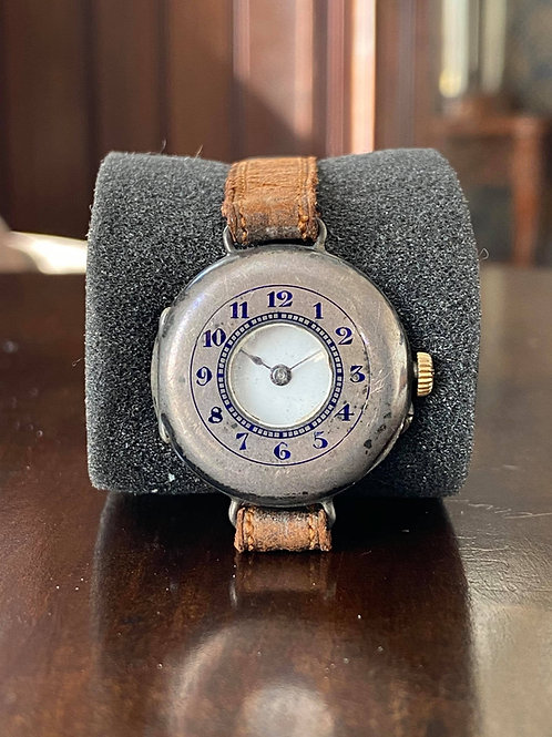 All original 1916 Silver Semi Hunter trench watch by Dreadnought, 30mm case size