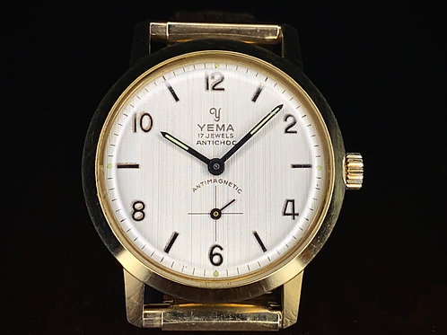 1960s Yema wrist watch grained dial, Gold plated, 17 jewel Incabloc FHF movement
