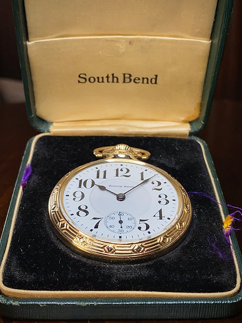 1924 South Bend pocket watch with original box, cal 227 great condition serviced