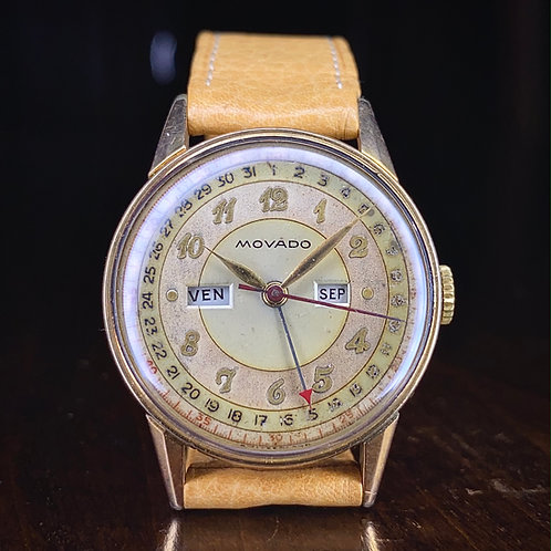 1945 Movado Calendograf Triple Date Pointer watch, gold plated case, for repair