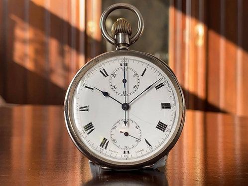WW1 1918 Silver Swiss Column Wheel Chronograph pocket watch, George Stockwell