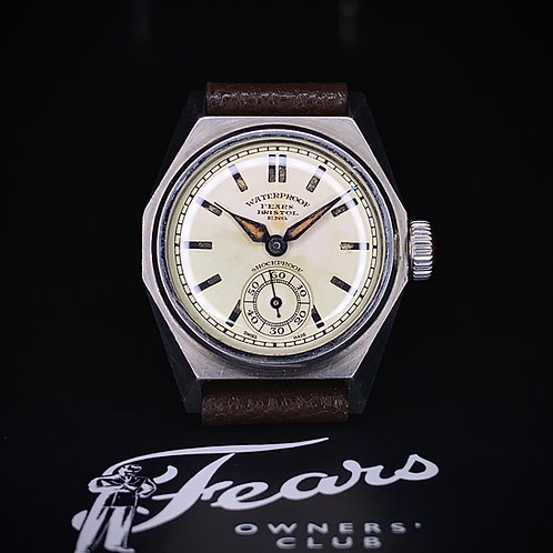 """1920s Fears """"Oyster"""" Octagonal """"Rustless Steel"""" watch with Sub-second dial"""