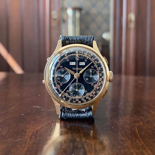 1950s Richard Triple Calendar Chronograph watch in 18ct gold Valjoux 72c