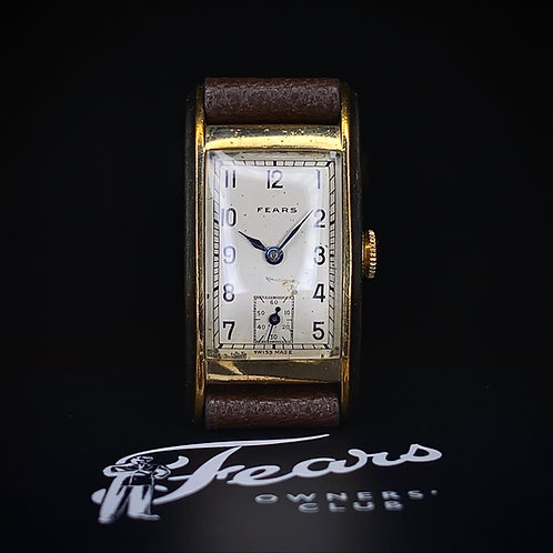 1940s Fears Curved Rectangular tank dress watch, model 7015, rolled gold case