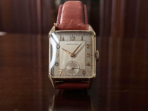 Vintage 1940s Art Deco Hamilton watch with cal. 980 movement, 10k GF, Serviced