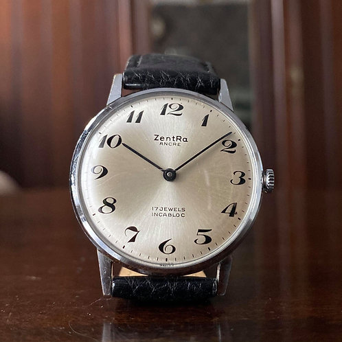 1970s Zentra Ancre dress watch, Arabic dial, Peseux 7050 17 jewel hand winding