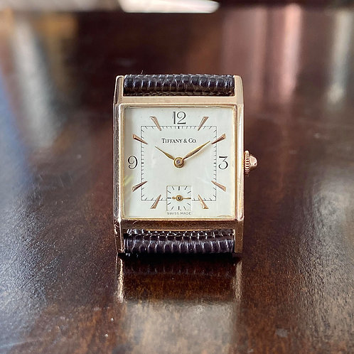1940 Art Deco Tiffany & Co Jaeger LeCoultre dress watch, 14ct gold case serviced