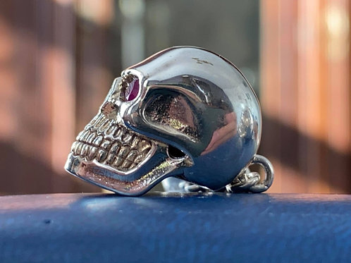 Pair of Sterling Silver Skull and Bone Cuff Links, red Garnet eyes high quality
