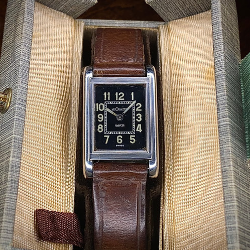 Art Deco Jaeger LeCoultre DuoPlan watch, original Box & buckle, Serviced cal 409