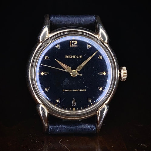 1950s Benrus black dial dress watch, pat 2302340, manual wind serviced, US maker